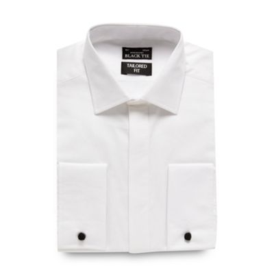 Black Tie Big and tall white textured tailored fit shirt - . -