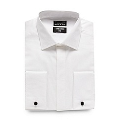 Black Tie - Big and tall white textured tailored fit shirt