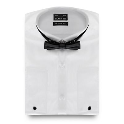 Black Tie Big and tall white regular fit shirt with bow tie - . -