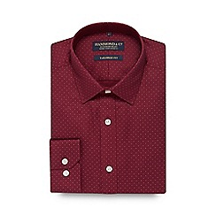 Hammond & Co. by Patrick Grant - Dark red spotted tailored fit shirt