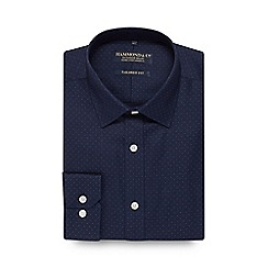 Hammond & Co. by Patrick Grant - Navy spotted tailored fit shirt