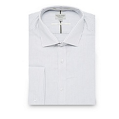 Racing Green - Light grey striped tailored fit shirt