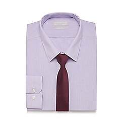 Red Herring - Purple striped slim fit shirt and tie set