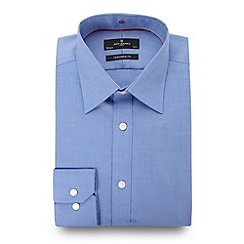 Jeff Banks - Big and tall designer blue twill travel shirt