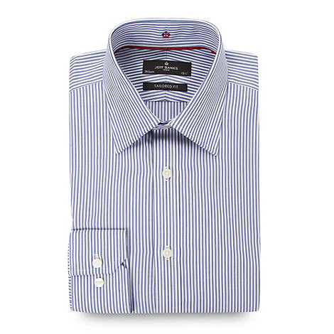 Jeff Banks - Designer blue double stripe tailored fit shirt