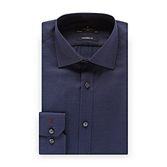Jeff Banks - Big and tall designer dark blue dotted tailored fit shirt