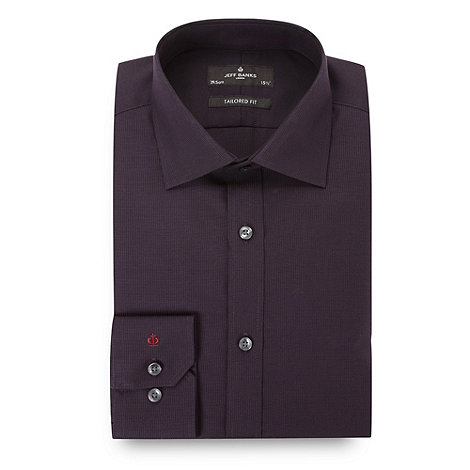 Jeff Banks - Designer dark purple textured tailored shirt