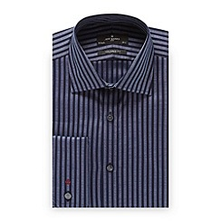 Jeff Banks - Big and tall designer dark blue striped tailored fit shirt