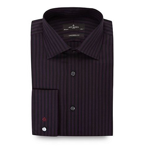 Jeff Banks - Designer dark purple striped tailored fit shirt