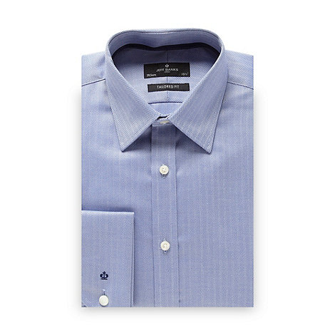 Jeff Banks - Designer blue herringbone tailored fit shirt