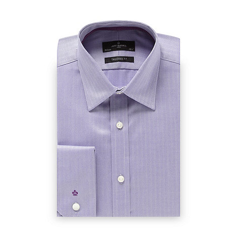 Jeff Banks - Designer purple herringbone tailored fit shirt
