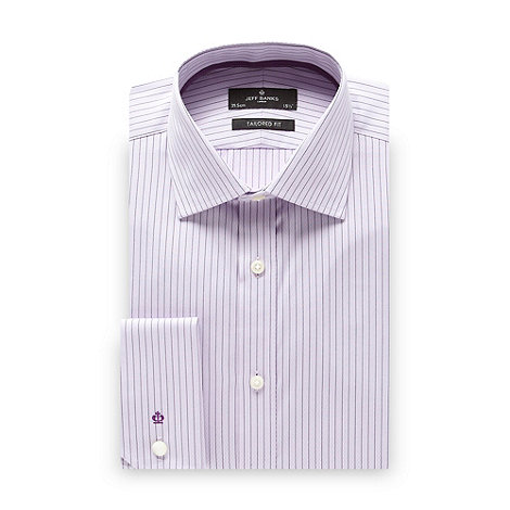 Jeff Banks - Designer lilac chevron striped tailored fit shirt