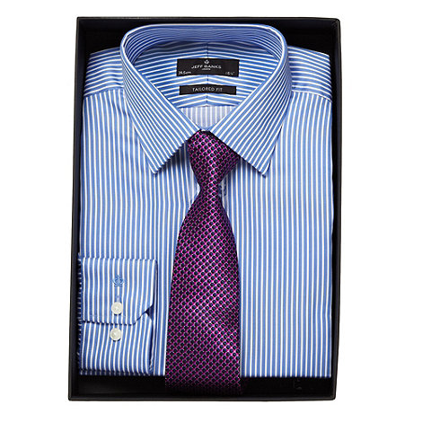 Jeff Banks - Designer blue striped tailored fit shirt and jacquard tie