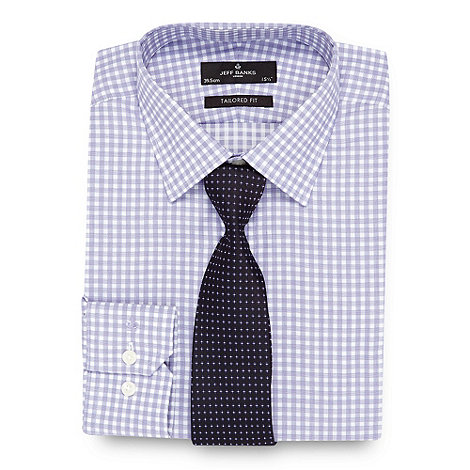 Jeff Banks - Designer purple checked tailored fit shirt and silk tie set