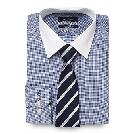 Jeff Banks - Designer blue dog tooth tailored shirt and silk tie