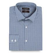 Navy fine gingham slim fit shirt
