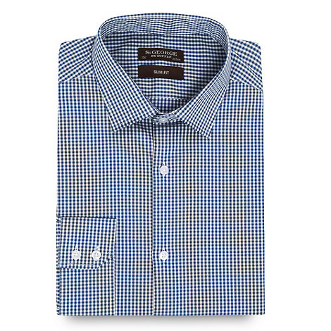 St George by Duffer - Navy fine gingham slim fit shirt