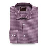Purple mini gingham checked slim fit shirt