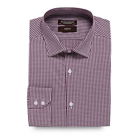 St George by Duffer - Purple mini gingham checked slim fit shirt