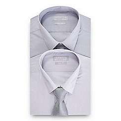 Red Herring - Pack of two grey slim fit shirt and tie set