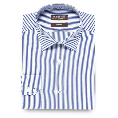 St George by Duffer - Blue two tone striped slim fit shirt