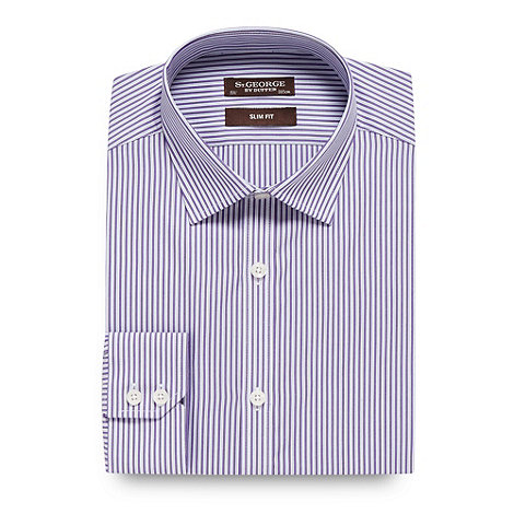 St George by Duffer - Purple multi tonal striped slim fit shirt