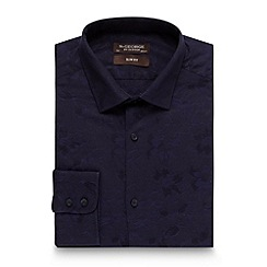 St George by Duffer - Dark blue jacquard floral shirt