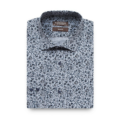 St George by Duffer - Dark blue floral slim fit shirt