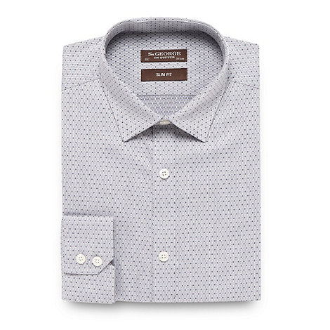 St George by Duffer - Light grey diamond jacquard slim fit shirt