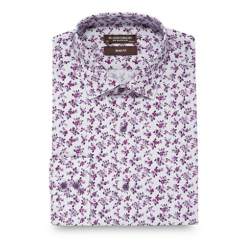 St George by Duffer - Dark pink floral slim fit shirt