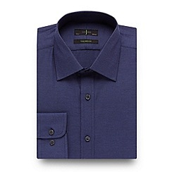 J by Jasper Conran - Big and tall designer dark blue textured tailored fit shirt