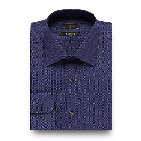 J by Jasper Conran - Designer dark blue textured tailored fit shirt