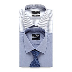 Thomas Nash - Big and tall pack of two blue easy care tailored shirts and tie set