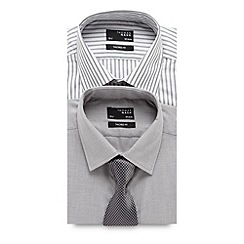 Thomas Nash - Big and tall pack of two grey easy care tailored shirts and tie set