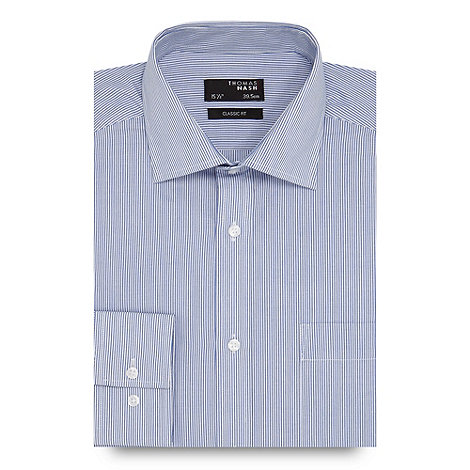 Thomas Nash - Big and tall white fine striped regular fit shirt
