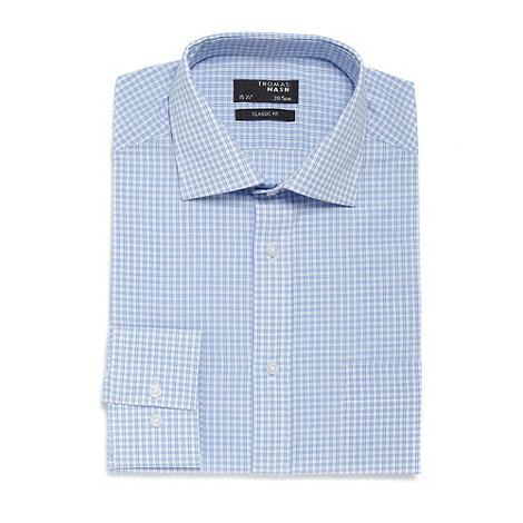 Thomas Nash - Big and tall light blue mini checked regular fit shirt