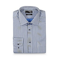 Thomas Nash - Navy herringbone striped regular fit shirt