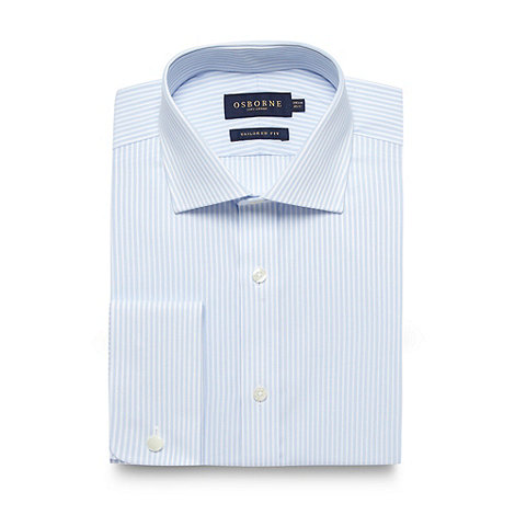 Osborne - Blue bengal striped tailored fit shirt
