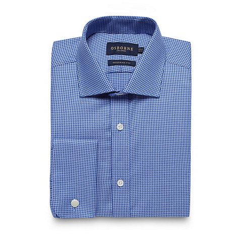 Osborne - Blue geometric tailored fit shirt