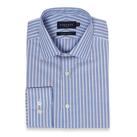 Osborne - Blue shadow striped regular fit oxford shirt