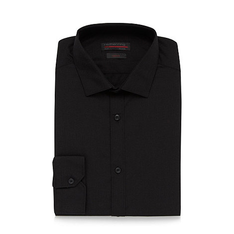 Red Herring - Black long sleeved poplin Slim fit button cuffed shirt