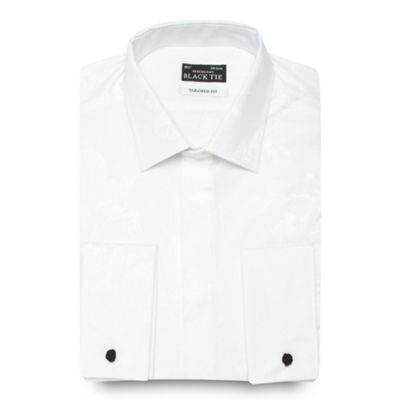 Black Tie Big and tall white jacquard tailored fit formal shirt - . -