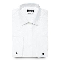 Black Tie - White jacquard tailored fit formal shirt