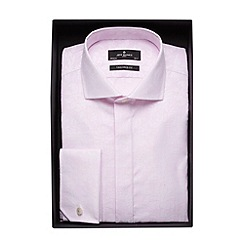 Jeff Banks - Designer light pink jacquard stripe tailored fit shirt