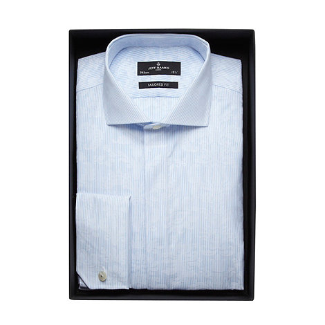 Jeff Banks - Designer light blue jacquard striped tailored fit shirt