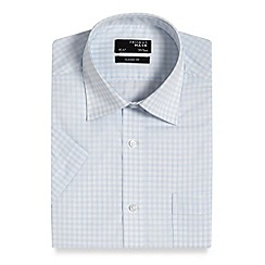 Thomas Nash - Light blue grid checked regular fit shirt