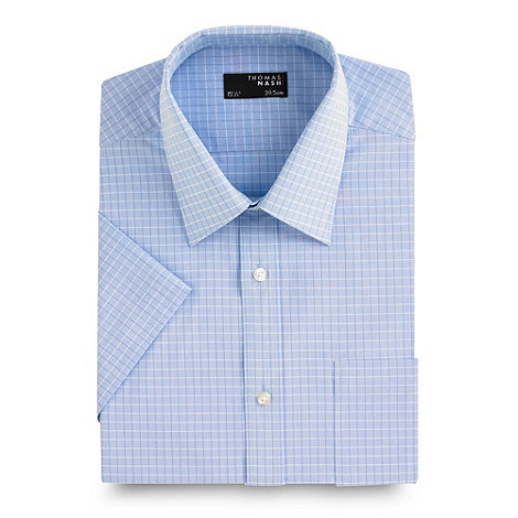 Thomas Nash - Big and tall blue shadow check short sleeved shirt