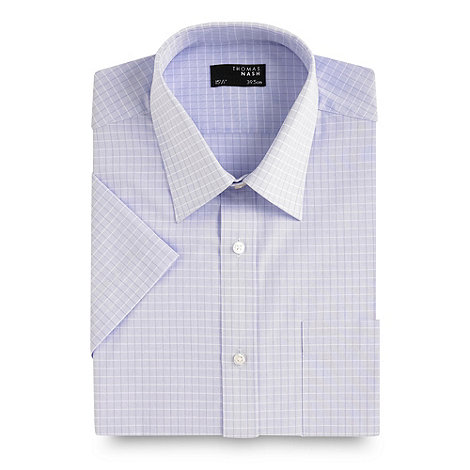 Thomas Nash - Big and tall lilac shadow check short sleeved shirt