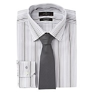 Jeff Banks White satin stripe long sleeved shirt and tie set