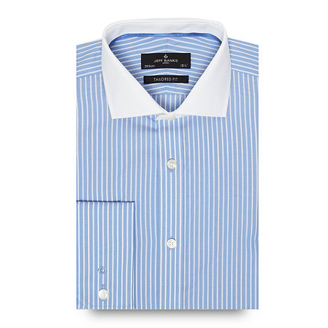 JEFF BANKS Designer blue striped plain collar tailored fit shirt - WAS £38.00